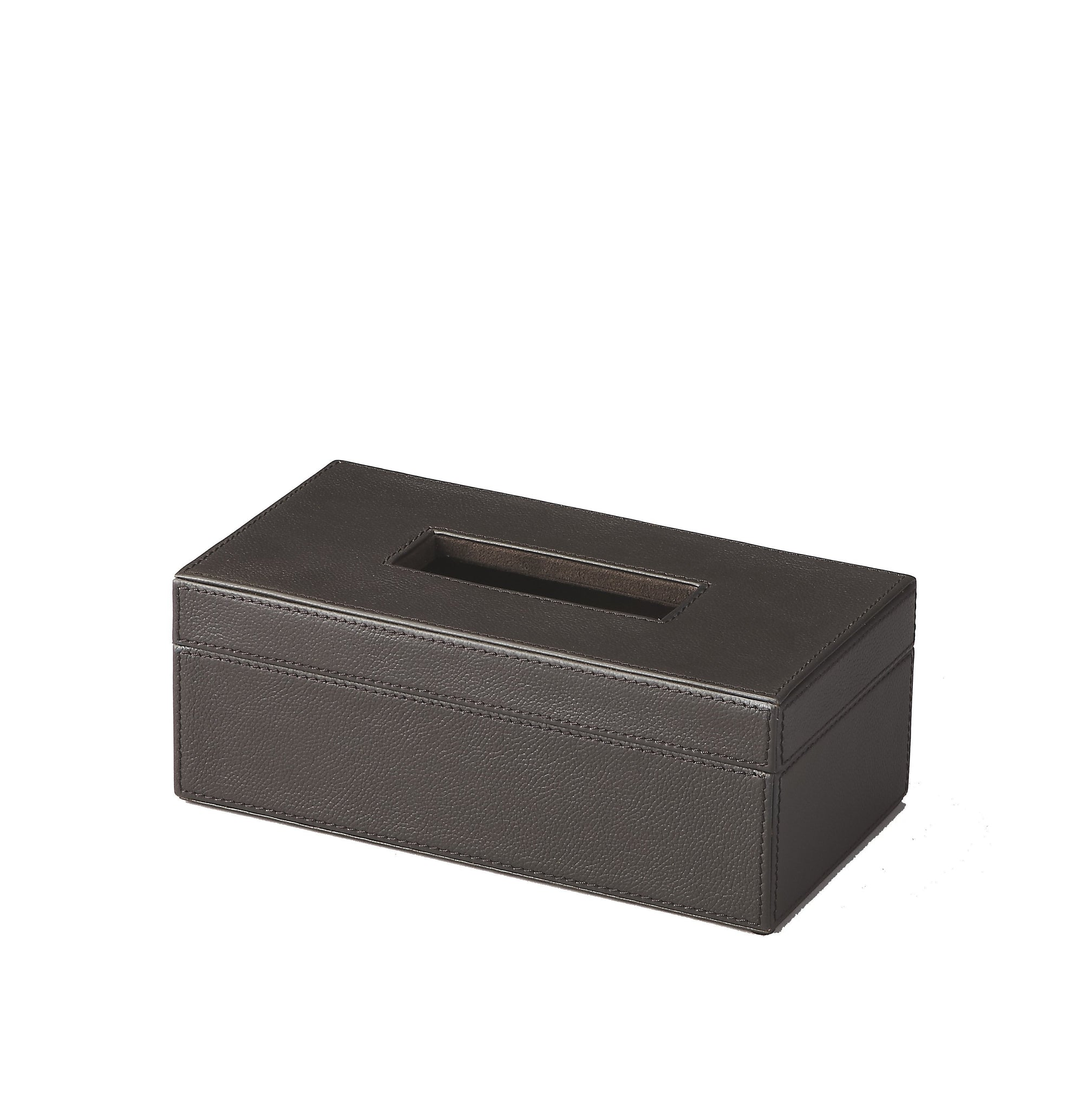 Lido Brown Leather Tissue Box