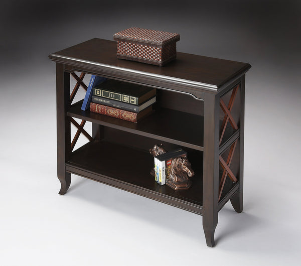 Newport Black & Cherry Low Bookcase