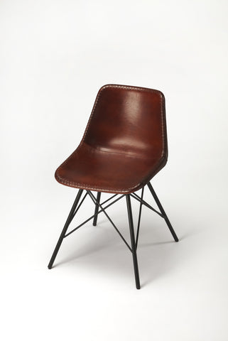 Inland Brown Leather Side Chair
