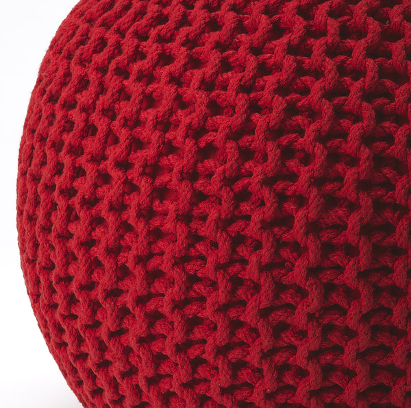Pincushion Red Woven Pouffe