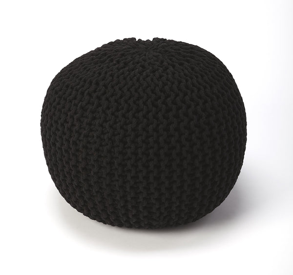 Pincushion Black Woven Pouffe