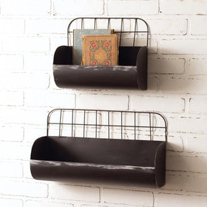 Set of Two Wire Back Wall Bins - Black