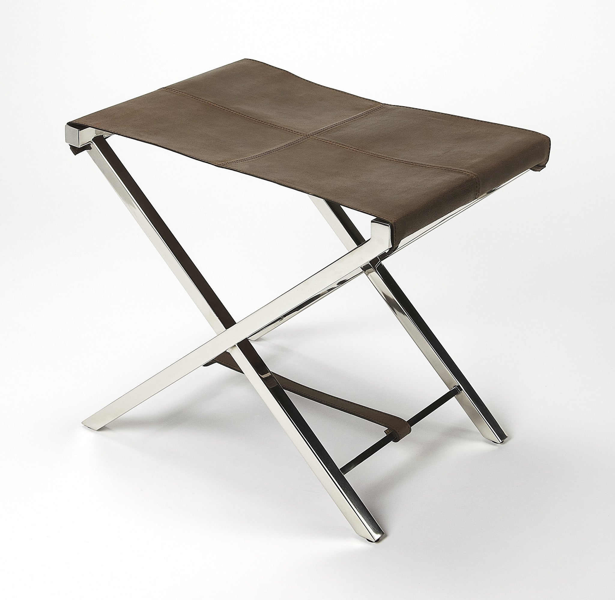 Matteo Leather & Metal Folding Stool