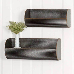 Set of Two Long Corrugated Wall Displays