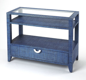 Amelle Blue Raffia Console Table