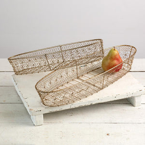 Set of Two Champagne Gold Wire Baskets