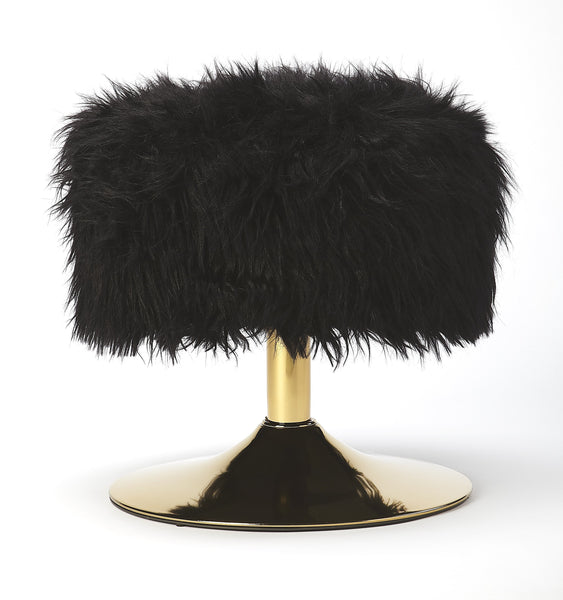 Nona Black Faux Fur Stool