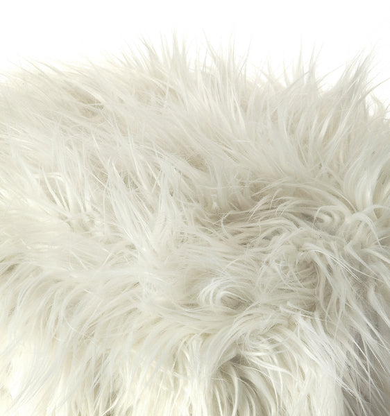 Nona White Faux Fur Stool