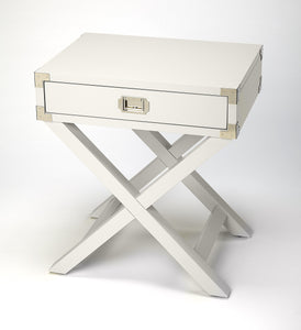 Anew White Campaign Side Table
