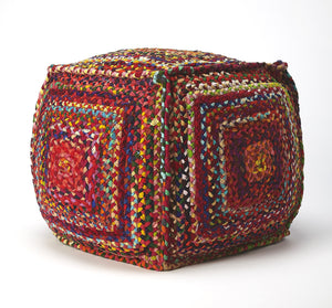 Gypsy Multicolor Braided Pouffe