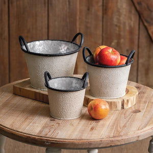 Set of Three Textured Buckets with Handles