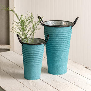 Set of Two Textured Buckets with Handles