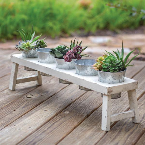 Wood Planter with 5 Metal Pots