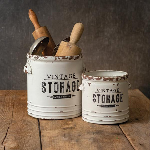Set of Two Vintage Storage Containers