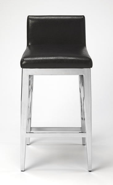 Kelsey Stainless Steel Faux Leather Counter Stool