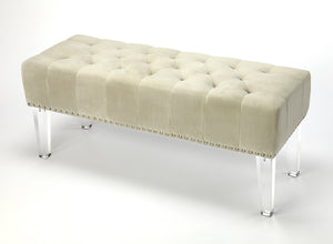 Janelle Cream Velvet Bench