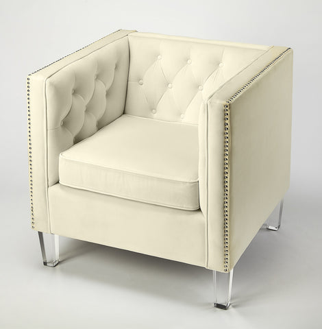 Janelle White Velvet Accent Chair