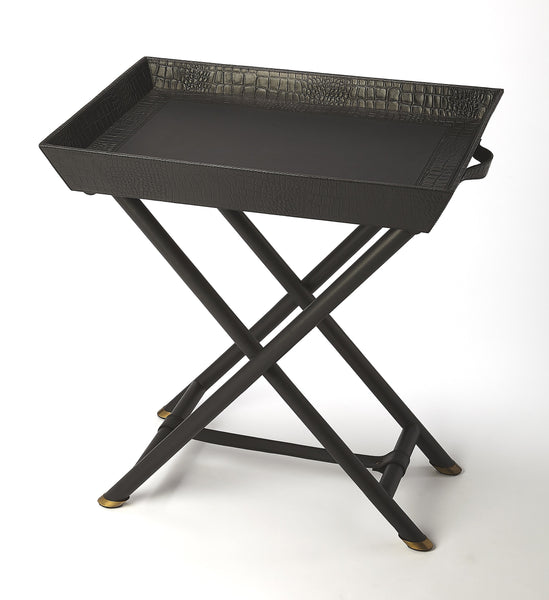 Bronco Black Leather Folding Tray Table