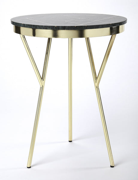 Haven Green Marble & Brass Accent Table