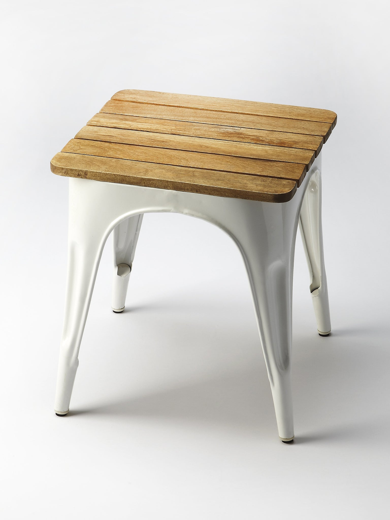 Junction White Iron & Wood Stool