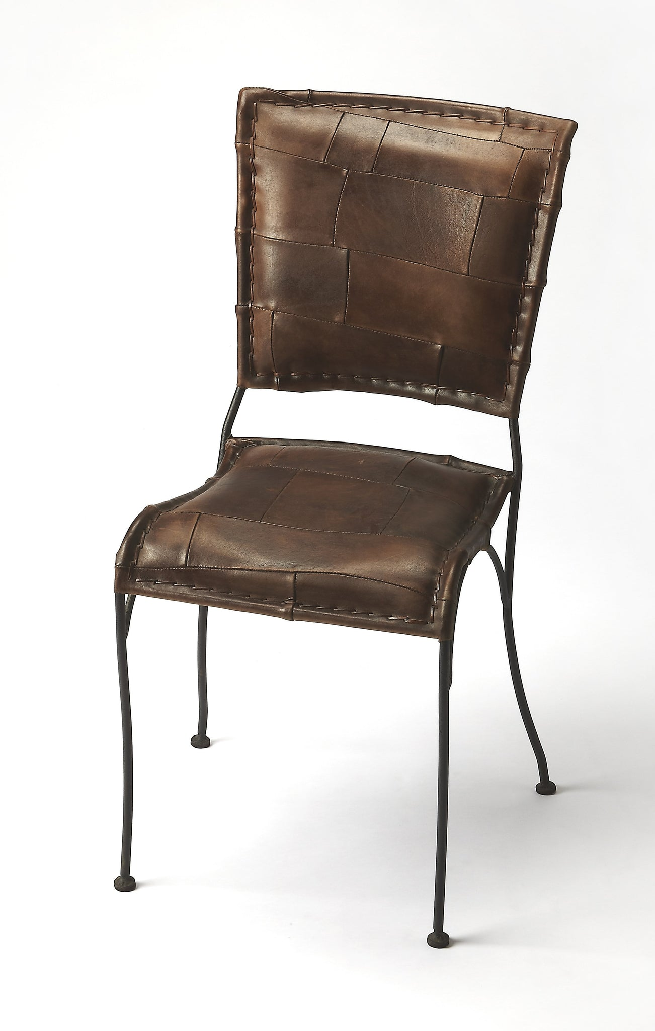 Maverick Iron & Leather Side Chair