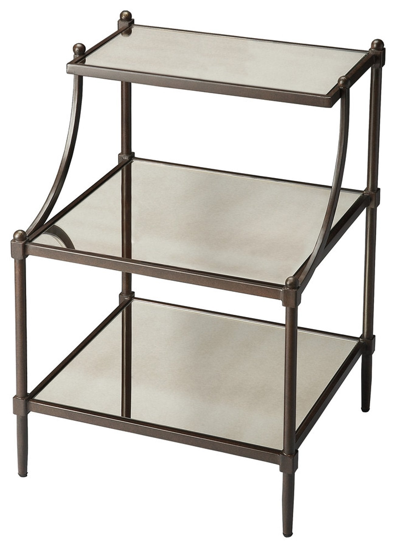 Peninsula Mirrored Tiered Side Table