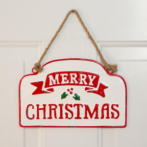 Merry Christmas Hanging Metal Wall Sign