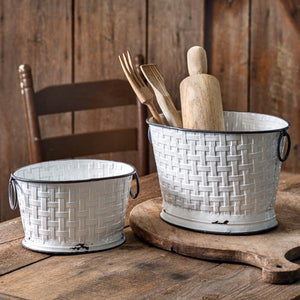 Set of Two Basket Weave Oval Buckets