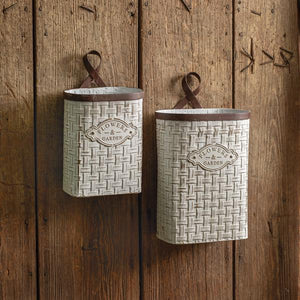 Set of Two Basket Weave Hanging Buckets