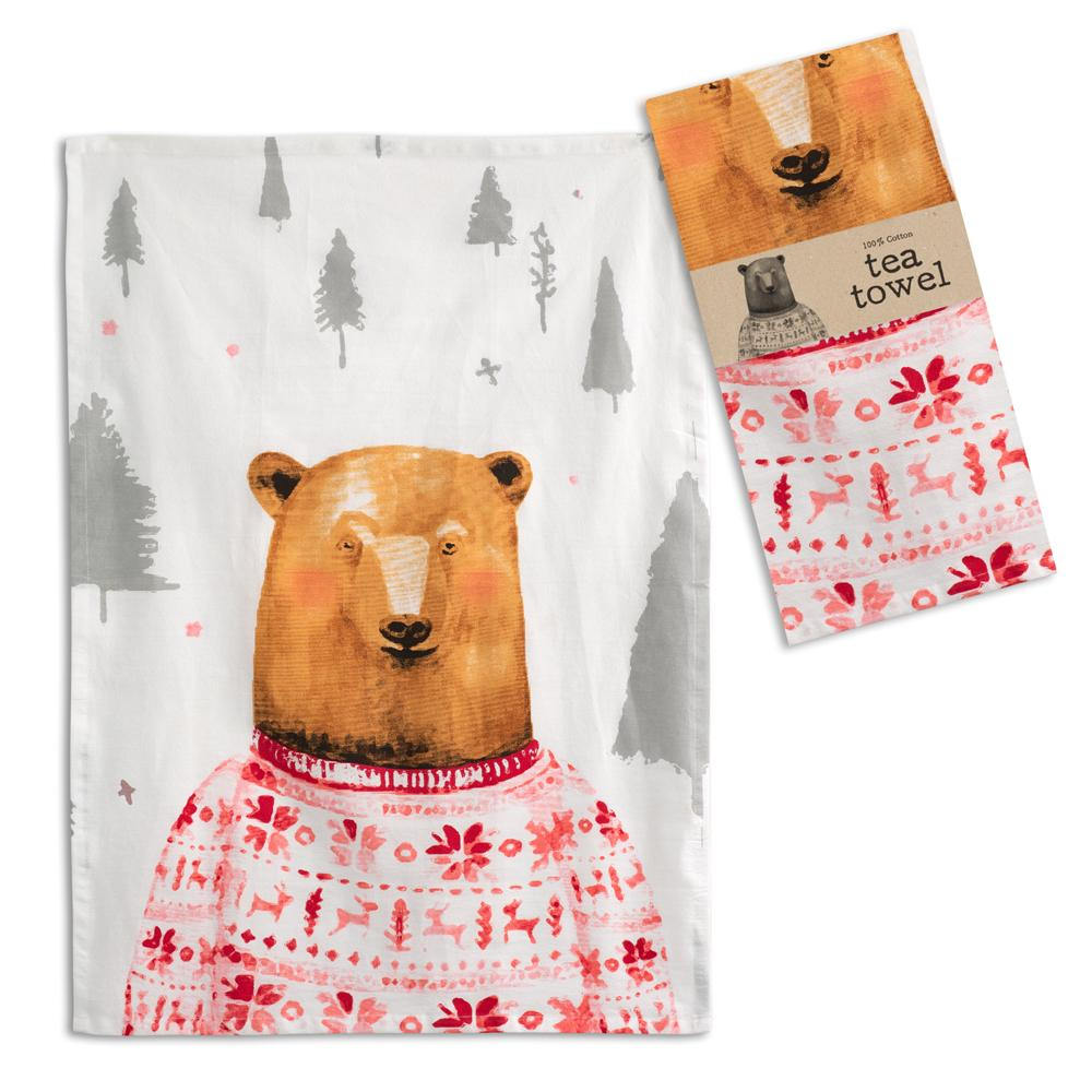 Bear in a Sweater Tea Towel - Box of 4