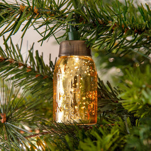 Glass Mini Mason Jar Ornament - Mercury Gold - Box of 6