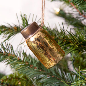 Glass Mini Mason Jar Hanging Christmas Ornament - Mercury Gold - Box of 6
