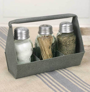 Toolbox Salt Pepper and Toothpick Caddy - Barn Roof
