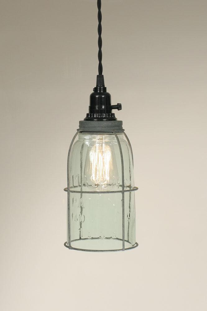 Half Gallon Caged Mason Jar Pendant Lamp - Barn Roof