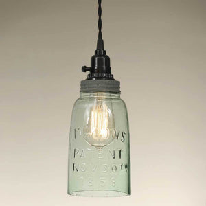 Half Gallon Open Bottom Mason Jar Pendant Lamp - Barn Roof