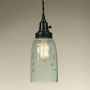 Half Gallon Open Bottom Mason Jar Pendant Lamp - Rustic Brown