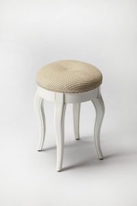 Nadia Cottage White Vanity Stool
