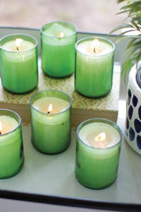 Set Of 6 Recycled Green Glass Bottle Candles