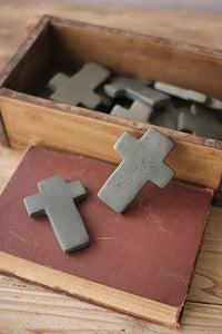 Set of 6 Hand Carved Stone Crosses - Dark Grey