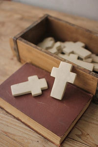 Set of 6 Hand Carved Stone Crosses - Light Grey