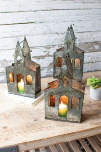Recycled Metal Church Luminary - Set Of 6