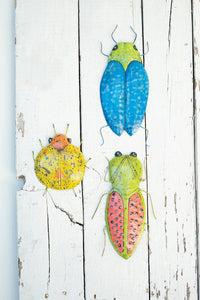 Set Of 3 Distressed Painted Metal Beetles Wall Art