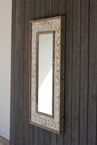 Wooden Framed Mirror With Fleur De Lis Detail