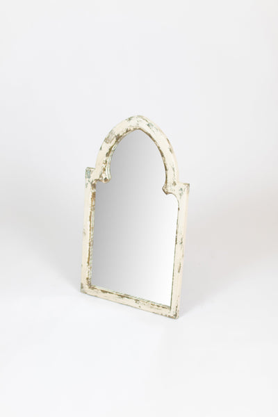 Wood Framed Mirror - White With Gold Accent