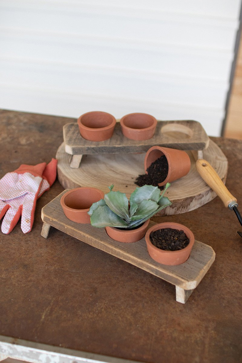 Set Of 6 Terracotta Flower Pots On A Recycled Wooden Base