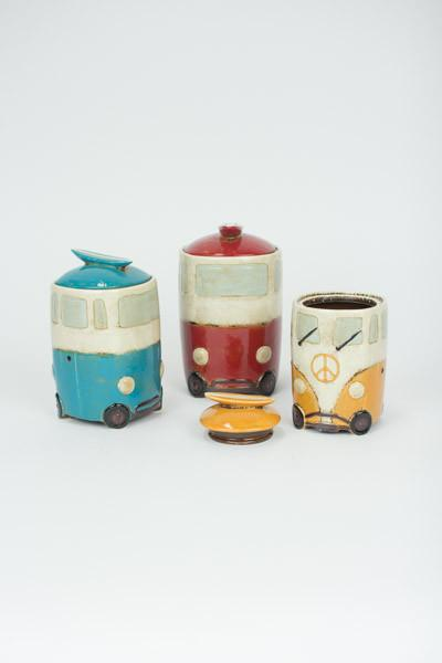 Set Of 3 Ceramic Van Canisters With Surfboard Handles