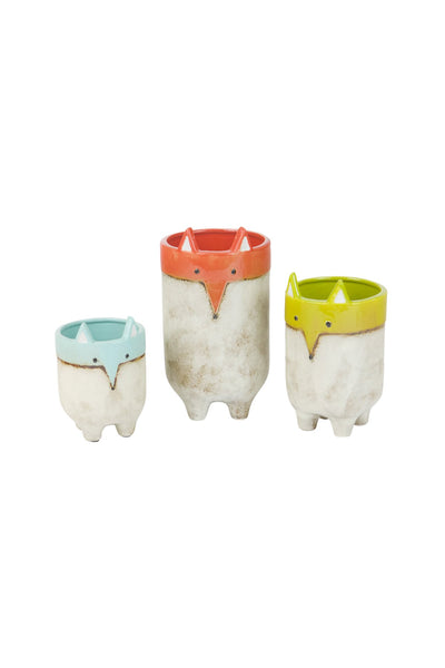 Set Of 3 Ceramic Fox Planters