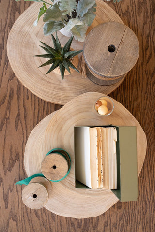 Set Of 3 Wooden Slice Display Risers