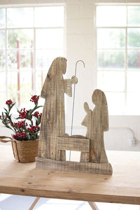 "30"" Tall Wooden Nativity With Stand"