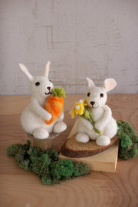 Set of 2 Felt Rabbits With Carrot & Flowers